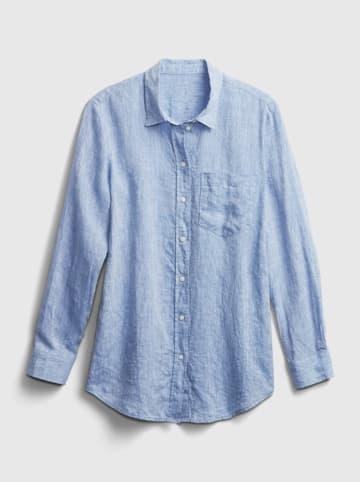 GAP Lniana bluzka w kolorze błękitnym