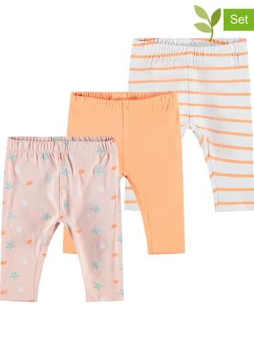 """Name it Legginsy (3 szt.) """"Leggings"""" w kolorze pomarańczowo-jasnoróżowo-białym"""