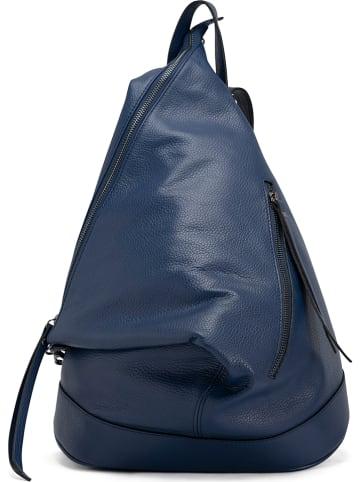 """Anna Morellini Skórzany plecak """"Aureliana"""" w kolorze niebieskim - 42 x 55 x 16 cm"""
