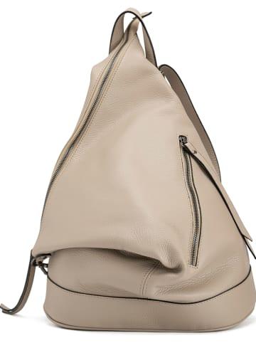 Anna Morellini Skórzany plecak w kolorze beżowym - 42 x 55 x 16 cm