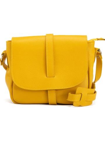 "Anna Morellini Leren schoudertas ""Mella"" geel - (B)24 x (H)20 x (D)9 cm"