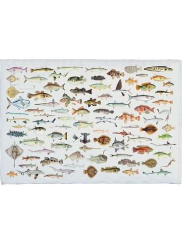 """Really Nice Things Badmat """"Fish in the Ocean"""" wit/meerkleurig - (L)60 x (B)40 cm"""