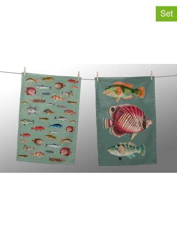 """Really Nice Things 2-delige set: theedoeken """"Fish in the Ocean"""" meerkleurig - (L)70 x (B)50 cm"""