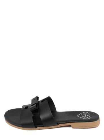 Romy B Leren slippers zwart