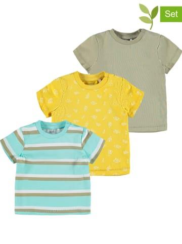 "Name it 3-delige set: shirts ""Henri"" kaki/geel/turquoise"