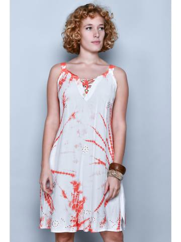 Tarifa Sukienka w kolorze biało-pomarańczowym