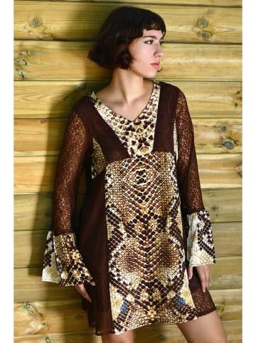 Tarifa Sukienka w kolorze brązowym ze wzorem