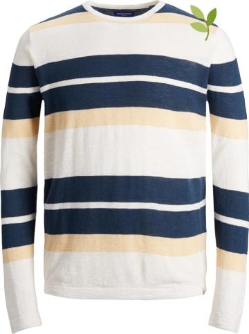 """Jack & Jones Sweter """"Organic"""" w kolorze kremowo-niebieskim"""