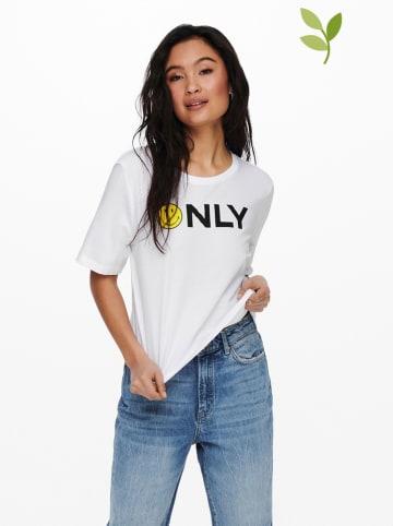 """ONLY Koszulka """"Smiley"""" w kolorze białym"""