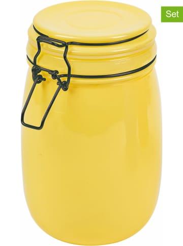 Villa d´Este Pojemniki (3 szt.) w kolorze żółtym, pomarańczowym i fioletowym - wys. 17 cm