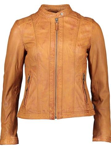 KRISS Skórzana kurtka w kolorze karmelowym