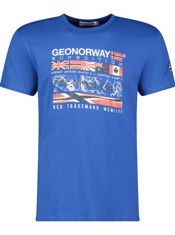 """Geographical Norway Shirt """"Jerdal"""" in Blau"""