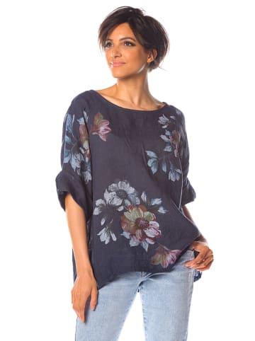 """La Fabrique du Lin Linnen blouse """"Citron"""" donkerblauw"""
