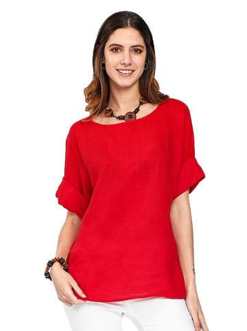 Le Jardin du Lin Lniana koszulka w kolorze czerwonym