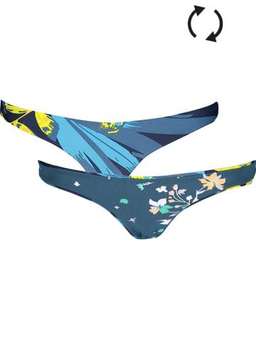 """Maaji Dwustronne figi bikini """"Hypnotic Flirt"""" w kolorze niebiesko-żółto-zielonym"""