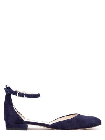 Zapato Leren ballerina's met bandje donkerblauw