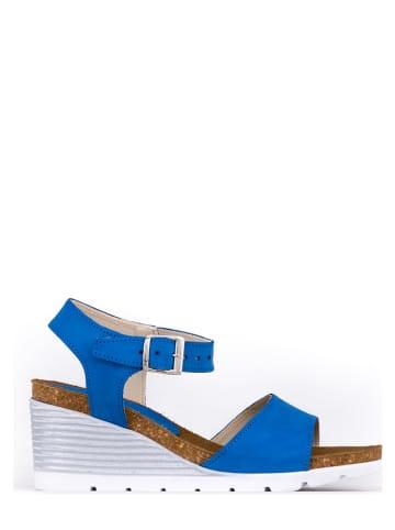 Zapato Skórzane sandały w kolorze niebieskim na koturnie