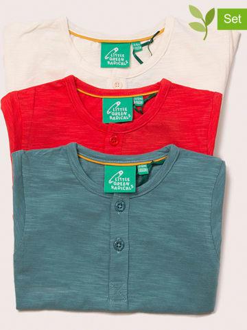 Little Green Radicals Koszulki (3 szt.) w kolorze czerwonym, brzoskwiniowym i niebieskim