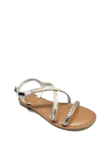 Gardini Leren sandalen wit/goudkleurig