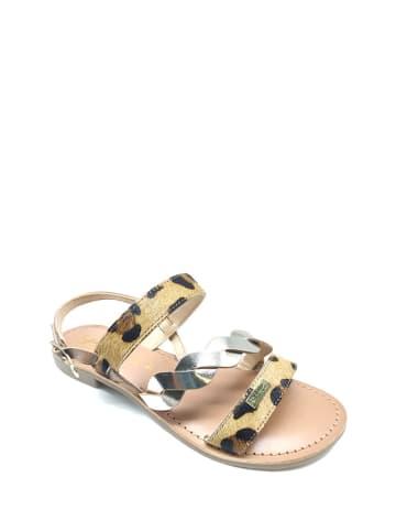 Gardini Leren sandalen lichtbruin/zilverkleurig