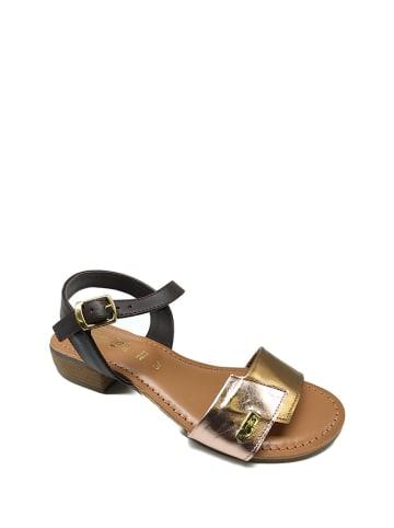 Gardini Skórzane sandały w kolorze czarno-różowozłotym
