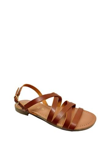 Gardini Skórzane sandały w kolorze jasnobrązowym