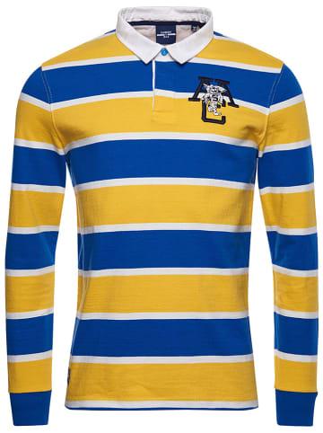 """Superdry Koszulka polo """"Jersey Rugby"""" w kolorze żółto-niebieskim"""