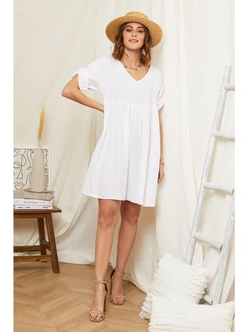 Rodier Lin Lniana sukienka w kolorze białym