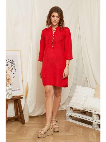 Rodier Lin Leinen-Kleid in Rot