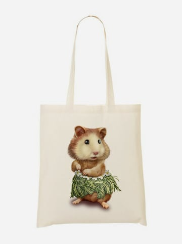 """WOOOP Stoffbeutel """"Hamster Hula"""" in Creme/ Bunt - (B)36 x (H)43 cm"""