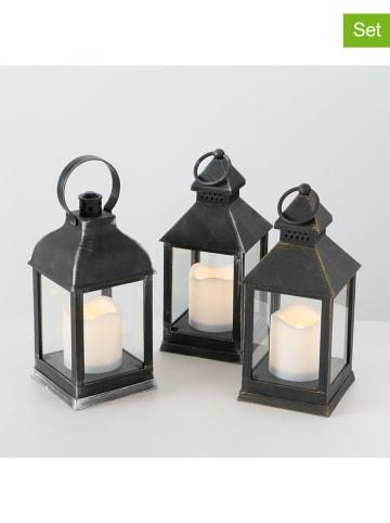 """Boltze Lampiony LED (3 szt.) """"Tom"""" w kolorze czarnym - 10 x 22 x 10 cm"""