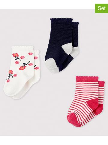 PETIT BATEAU 3-delige set: sokken donkerblauw/rood/wit