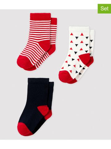 PETIT BATEAU 3-delige set: sokken rood/wit/donkerblauw