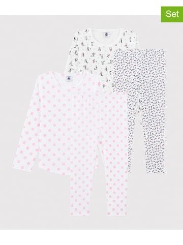PETIT BATEAU 2-delige set: pyjama's wit/lichtroze/meerkleurig