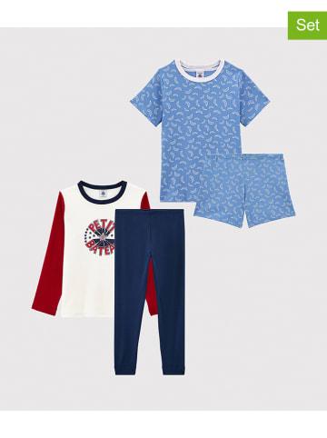 PETIT BATEAU 2-delige set: pyjama's lichtblauw/donkerblauw/bordeaux