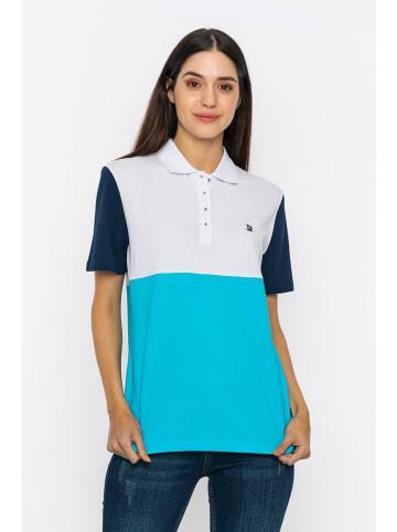 GIORGIO DI MARE Poloshirt wit/turquoise/donkerblauw