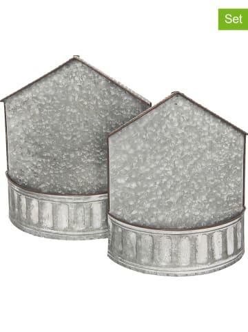 Clayre & Eef Uchwyty (2 szt.) w kolorze srebrnym na rośliny - 40 x 15 cm
