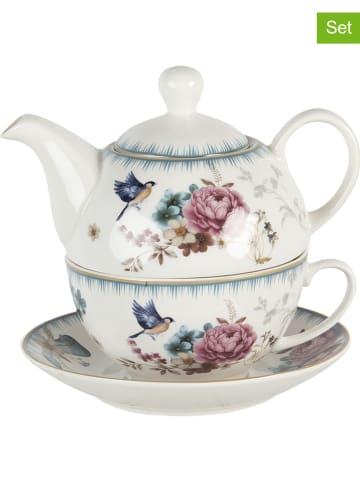 Clayre & Eef 2-częściowy zestaw w kolorze białym ze wzorem do herbaty