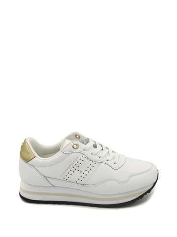 Tommy Hilfiger Skórzane sneakersy w kolorze złoto-białym