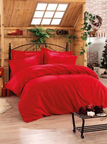 Colourful Cotton Komplet pościeli satynowej w kolorze czerwonym