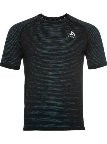 """Odlo Koszulka sportowe """"Blackcomb Ceramicool"""" w kolorze niebiesko-czarnym"""