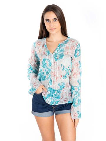 SIGRIS Moda Bluzka w kolorze błękitno-kremowym