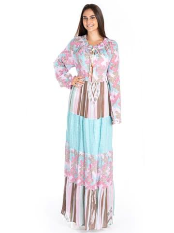 SIGRIS Moda Sukienka w kolorze jasnoróżowo-błękitno-jasnobrązowym