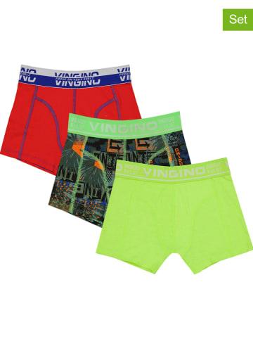 Vingino 3-delige set: boxershorts groen/rood/meerkleurig