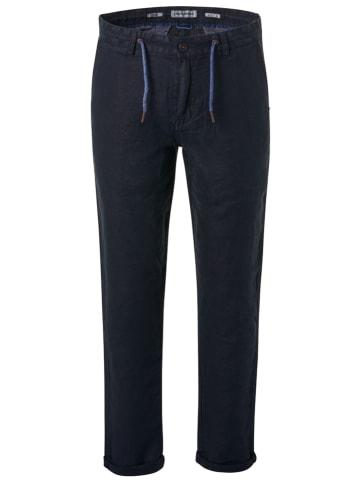 No Excess Lniane spodnie chino - Regular fit - w kolorze granatowym