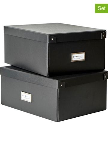 "BigsoBox 2-delige set: DVD-opbergboxen ""Mika"" zwart  - (B)28 x (H)16 x (D)36 cm"