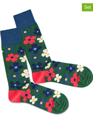 """DillySocks 2-delige set: sokken """"Floral Grass"""" meerkleurig/groen"""