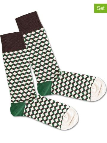 """DillySocks 2-delige set: sokken """"Garden Dice"""" groen/wit"""