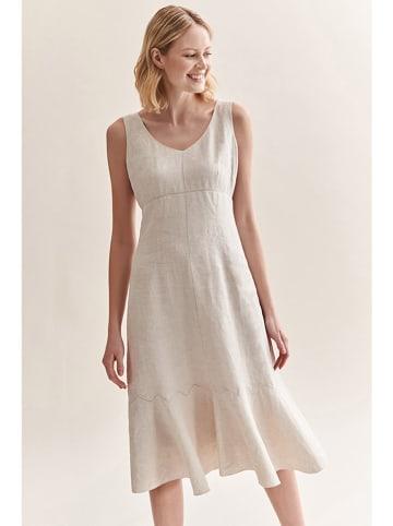 TATUUM Lniana sukienka w kolorze beżowym