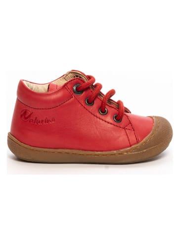 Naturino Skórzane buty w kolorze czerwonym do nauki chodzenia